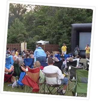 Movie night at campground