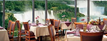 dining with a awesome view of the falls