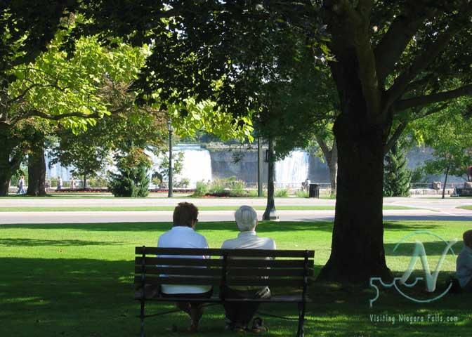 Relaxing in Queen Victoria Park overlooking the American Falls
